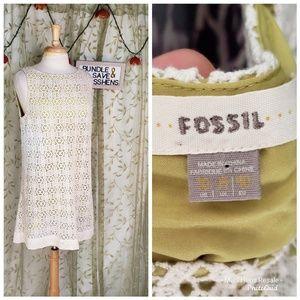 EUC FOSSIL CREAM LACE LAYERED TUNIC MINI DRESS